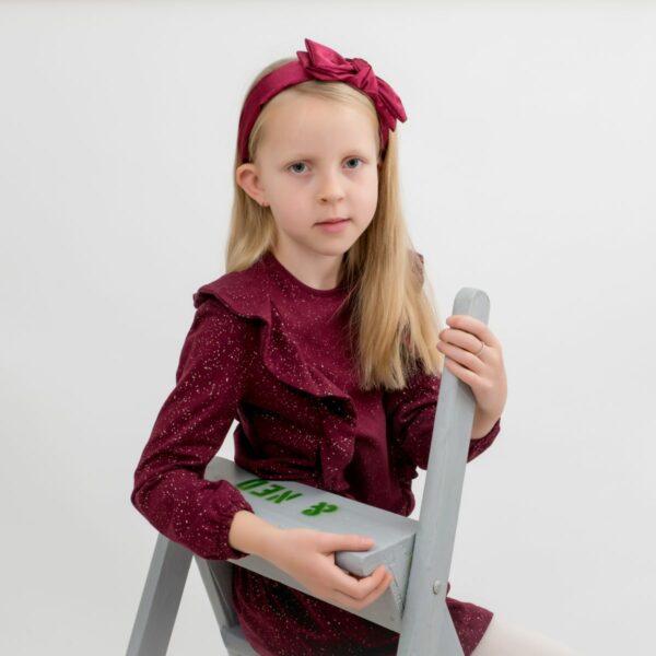 Amalie 3 | Hårbøjle bordeaux glitter stof med stor dobbelt sløjfe