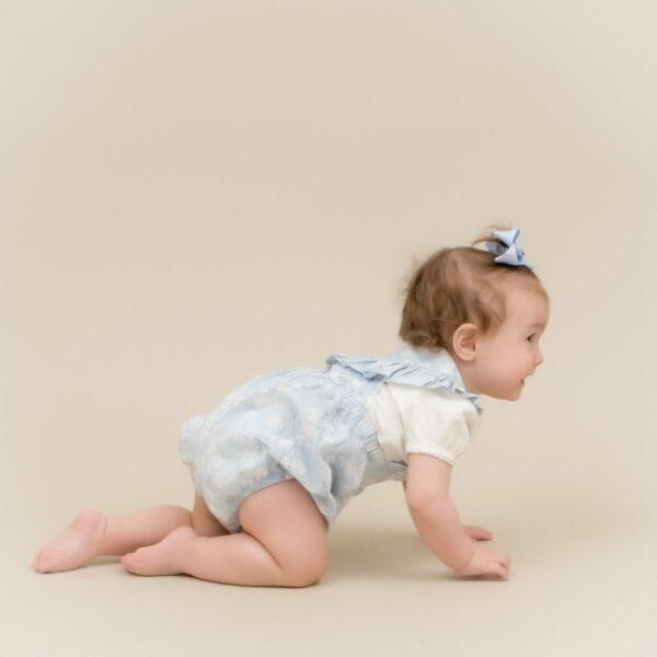 Aya 6 | Støvet Rosa kortærmet body til baby med pufærmer