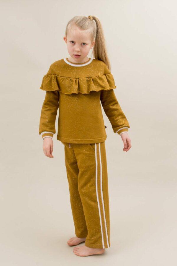 Amalie frill blouse and Amanda pants curry glitter | AW19 Amanda Bukser til piger i Karry med glitterprint