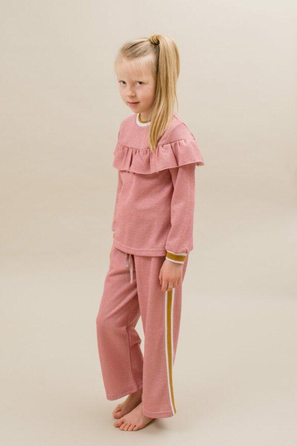 Amalie frill blouse and Amanda pants rose glitter | AW19 Amalie Bluse til piger i Rosa glitterstof