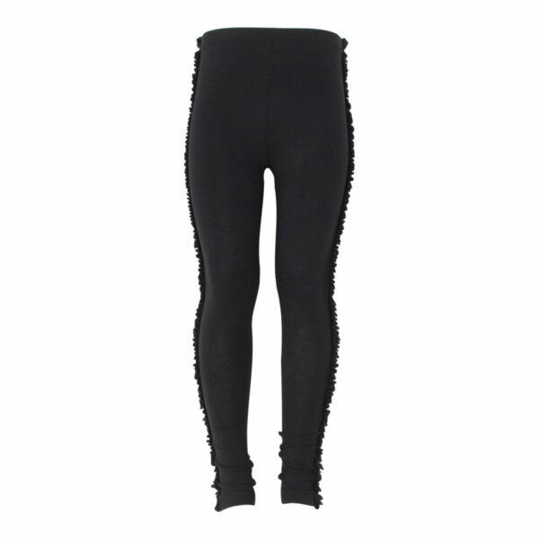 Black Girls Frill leggings | Sorte leggings med flæsekant til piger