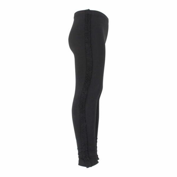 Black Girls Frill leggings site | Sorte leggings med flæsekant til piger