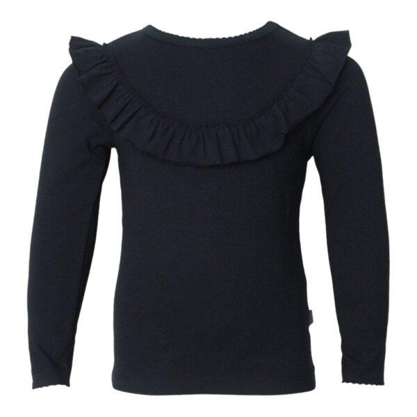 Black frill blouse | Sort langærmet bluse med flæsekant