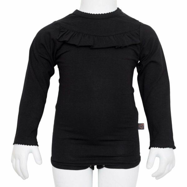 Black frill body | BA Sort flæsebody  til piger med lange ærmer