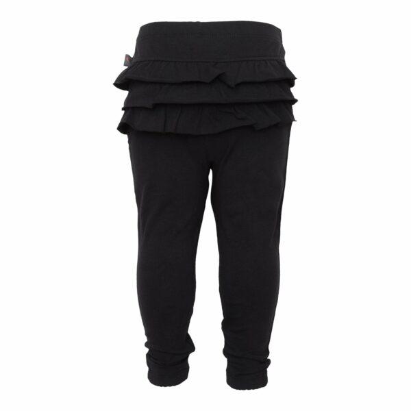 Black frill leggings back | Sorte leggings til baby med flæsenumse