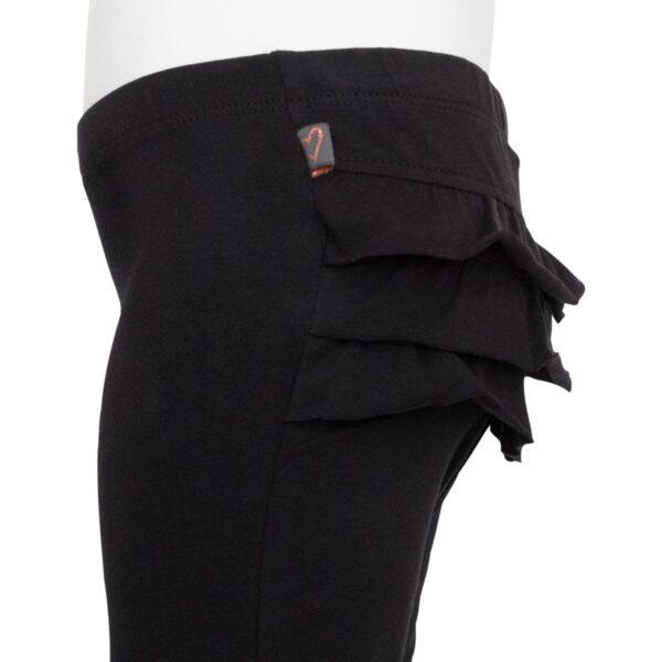 Black frill leggings side | Sorte leggings til baby med flæsenumse