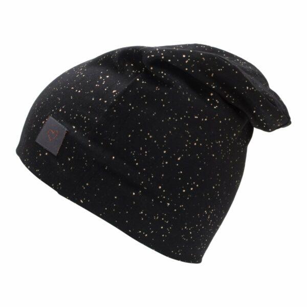 Black glitter beanie | Sort beanie hue til børn med glimmerprint