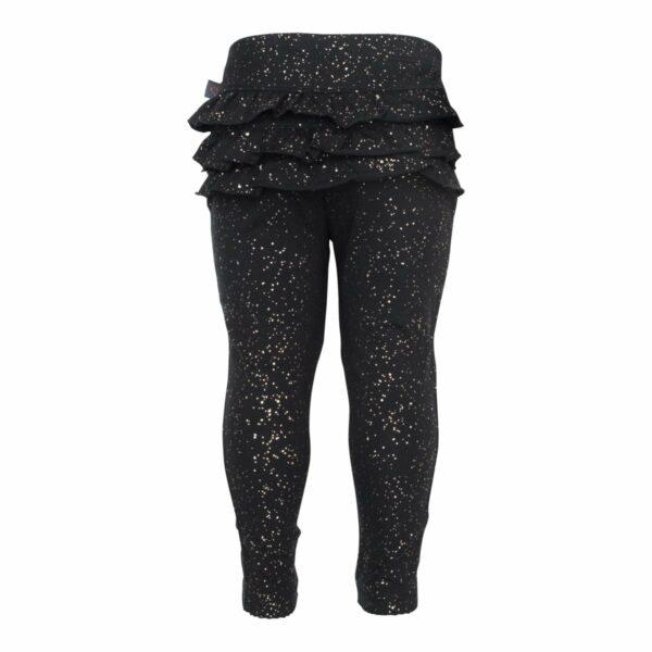 Black glitter frill leggings 1 | Sorte leggings med flæser og glimmerprint