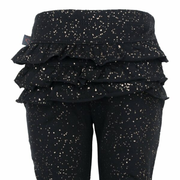 Black glitter frill leggings back 1 | Sorte glitter leggings med flæsenumse