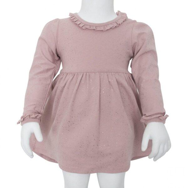Body Dress Dusty Rose Glitter | Støvet rosa bodykjole med glimmerprint og flæsekanter