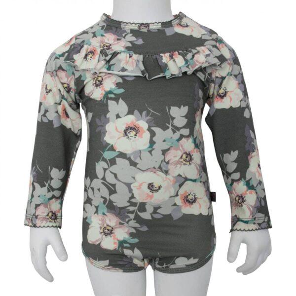Body Grey flower | SS18 Grey Flower body med flæser og lange ærmer