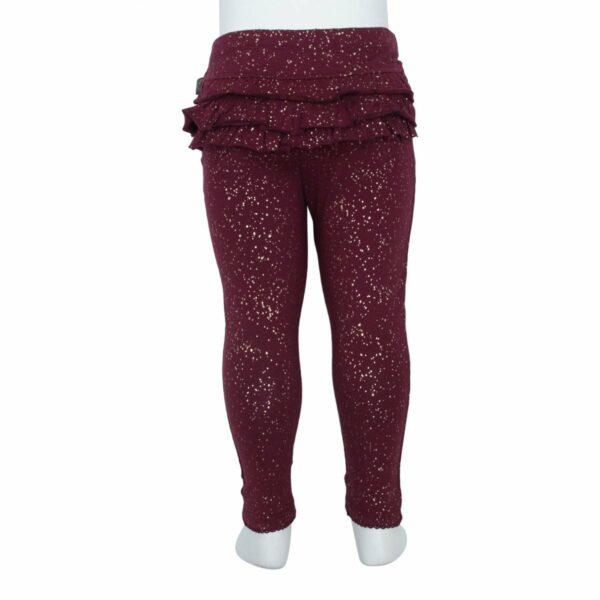 Bordeaux frill glitter leggins | AW19 Bordeaux flæse leggings til baby med glimmerprint