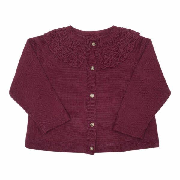 Bordoux knit   Bordoux strik cardigan med fin krave fra Little Wonders