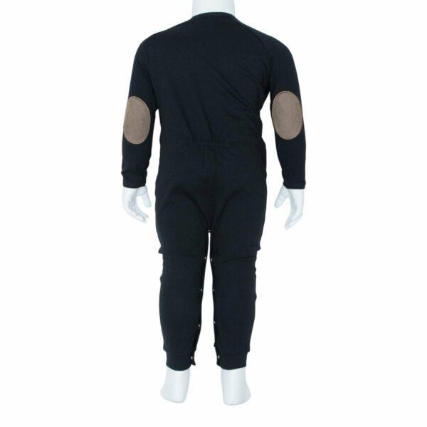 Boys bodysuit black back | Sort Heldragt til drenge fra Little Wonders