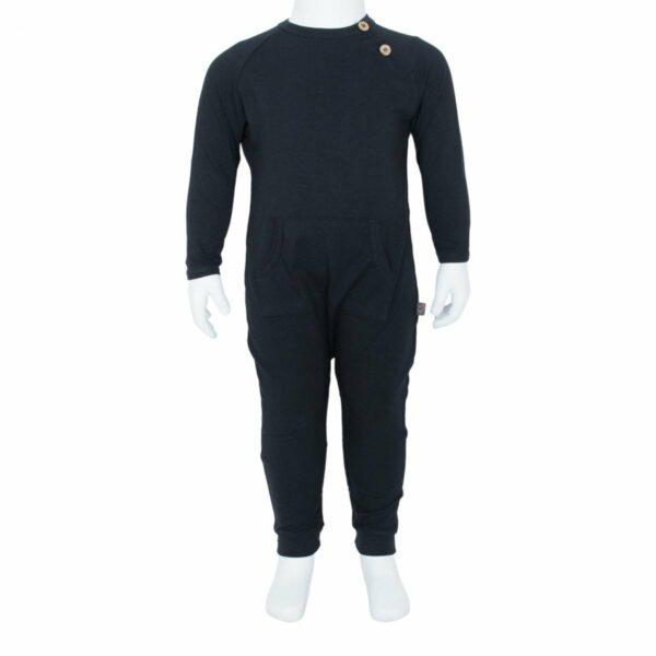 Boys bodysuit black front | Sort Heldragt til drenge fra Little Wonders