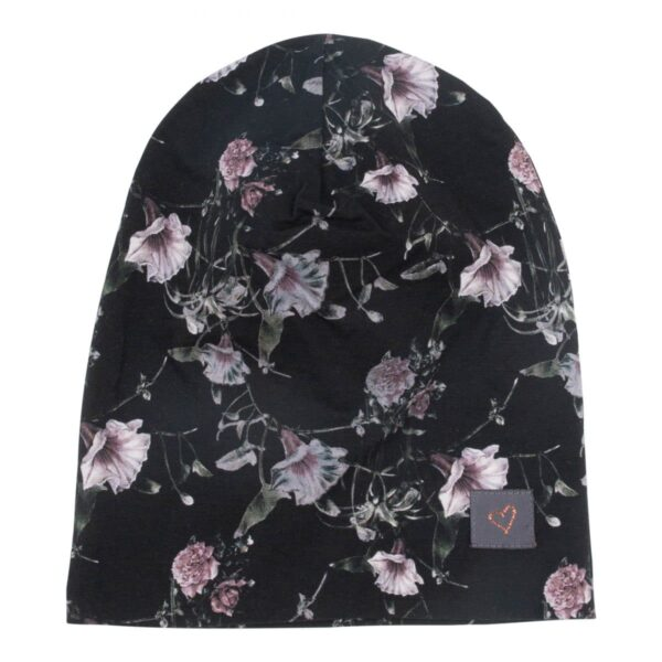 CR1 7429 Edit | Black Flowerprint Anna beanie hue til børn