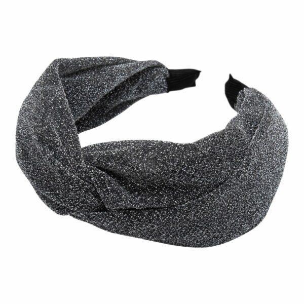 CR1 7608 1 | Bred koksgrå glitter hårbøjle med blød bøjle