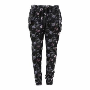Saga Teen Baggy Pants i black flowerprint