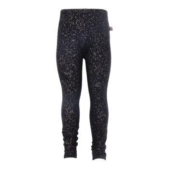 Sorte leggings til piger med glimmerprint
