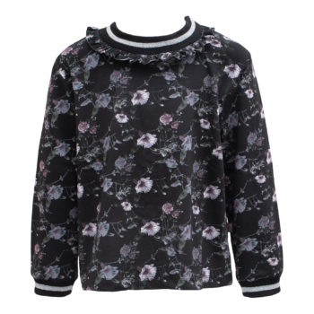 Saga Teen bluse i black flowerprint