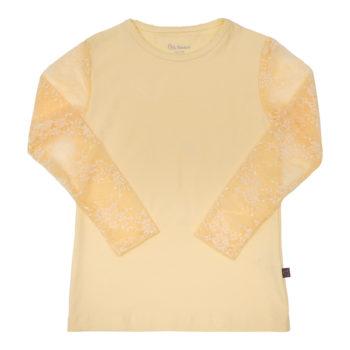 Pastel Gul Maja bluse med blondeærmer