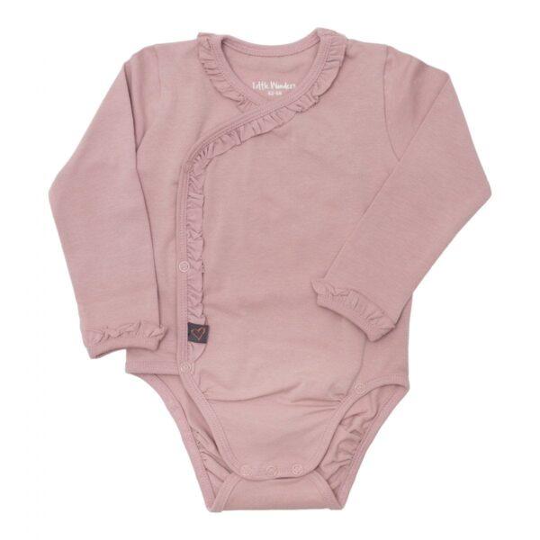 Cross Ower body dusty rose front 1 | Støvet rosa cross ower body med flæser til nyfødte