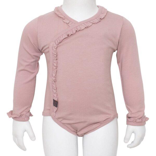 Cross Ower body dusty rose front 2 | Støvet rosa cross ower body med flæser til nyfødte