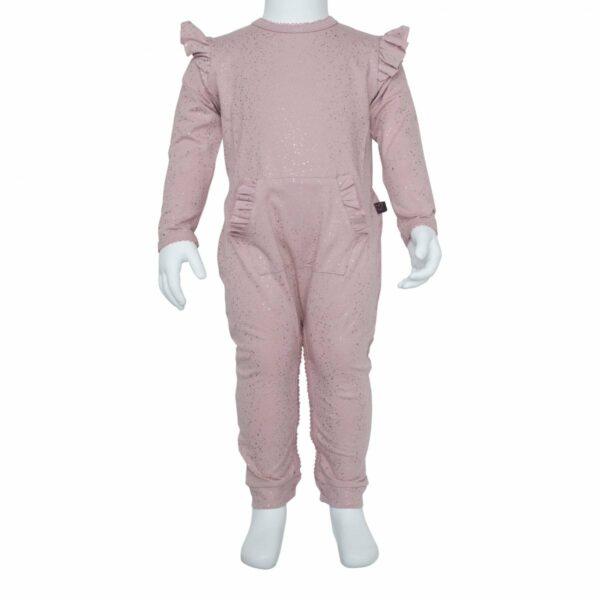 DR Bodysuit 1 | Støvet rosa heldragt med glimmerprint og vinger