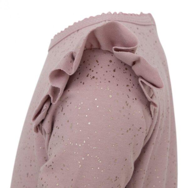 DR Bodysuit side 1 | Støvet rosa heldragt med glimmerprint og vinger