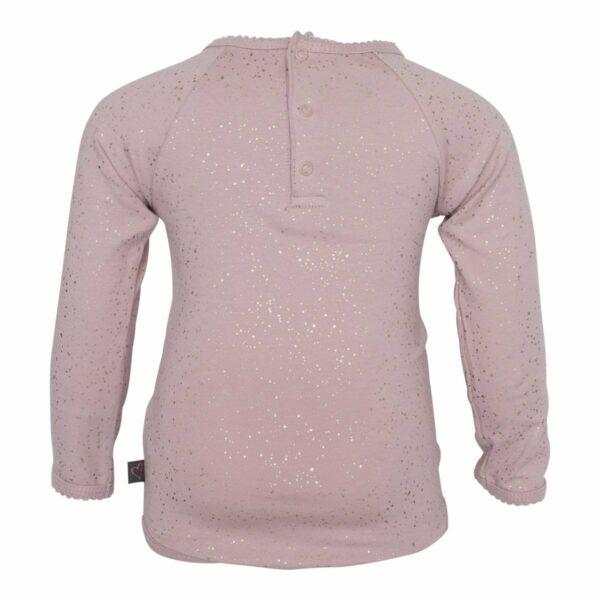 DR glimmer body back 1 | Støvet rosa body med flæse og glitter print