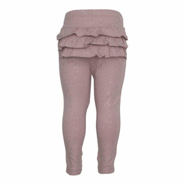 DR glitter frill leggings 1 | Støvet rosa leggings med flæser og glimmerprint