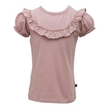 Støvet rosa kortærmet bluse med flæsekant