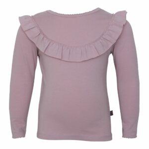 Støvet rosa langærmet bluse med flæsekant