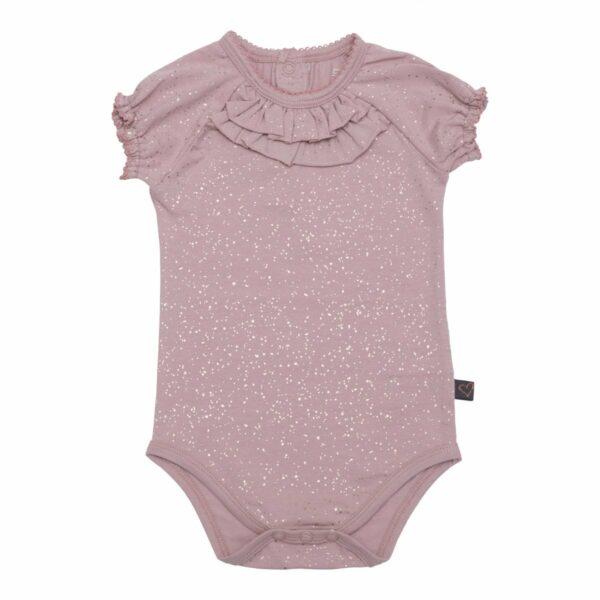 Dusty Rose glitter body short slv 1 | BA Kortærmet støvet rosa body med flæse og glitter print