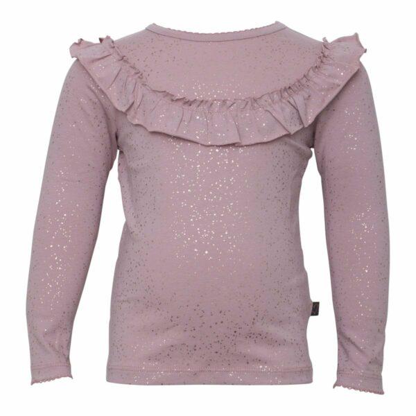 Dusty rose glitterprinted frill blouse | Støvet Rosa glimmer langærmet flæsebluse