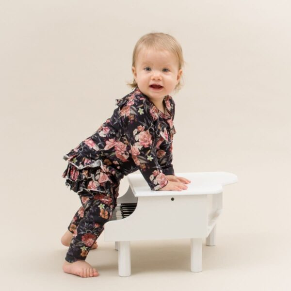 Flors Frill body and Athena leggings warm flowerprint | Warm flower print Athena flæse leggings
