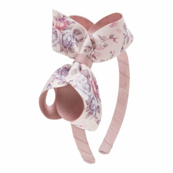 Flower Headband 146 | Vera hårbøjle med stor dobbelt sløjfe med blomster print Cameo