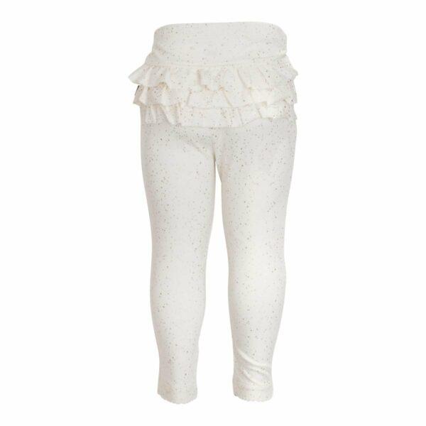 Frill leggings off white glitter | Off white flæseleggings til baby med glimmerprint