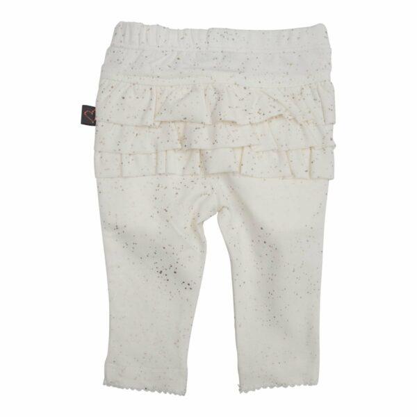 Frill leggings off white glit newborn | Off white flæse leggings med glimmerprint til nyfødt