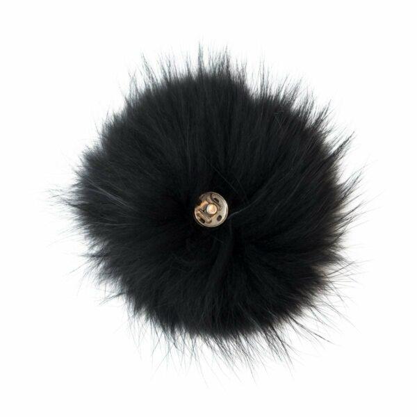 Fur Black  1 | Pelskvast - sort med tryklås