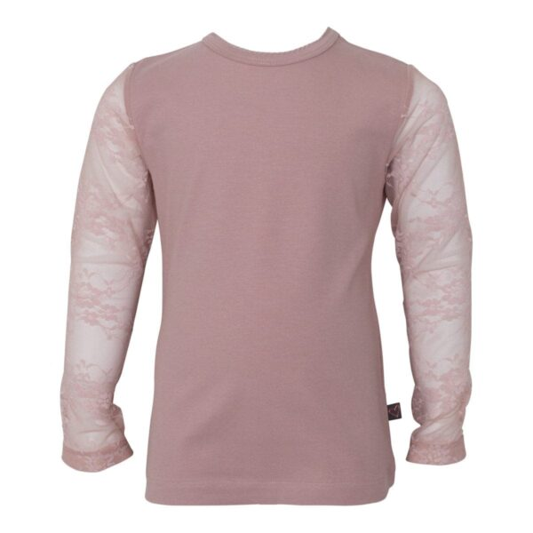 Girls Bloues lace sleves Dusty Rose 2 | Off White Maja bluse til piger med blondeærmer