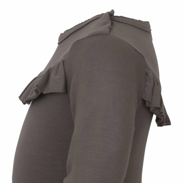 Grey 2 | AW19 Koksgrå body med flæser og lange ærmer