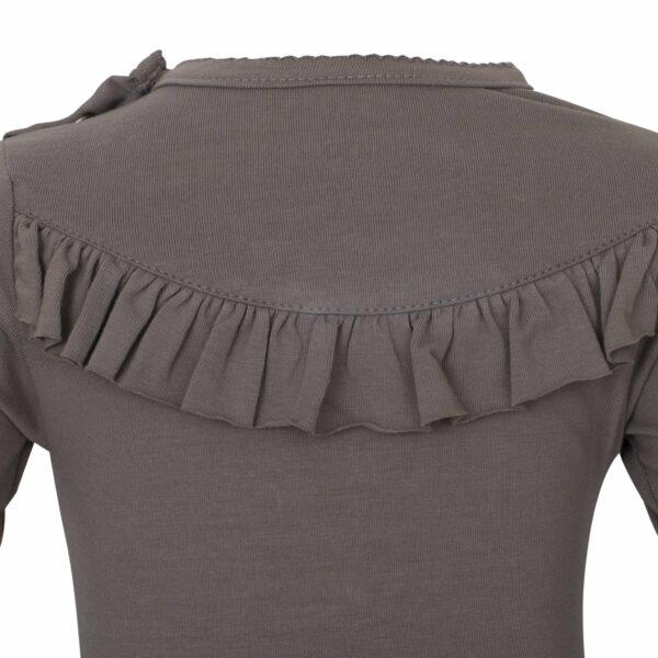 Grey 8 | AW19 Koksgrå body med flæser og lange ærmer