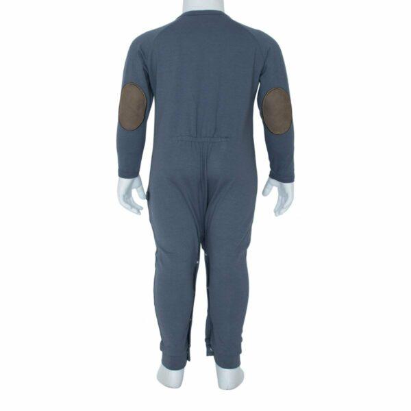 Grey bodysuit back | Navy Blå Heldragt til drenge med lomme
