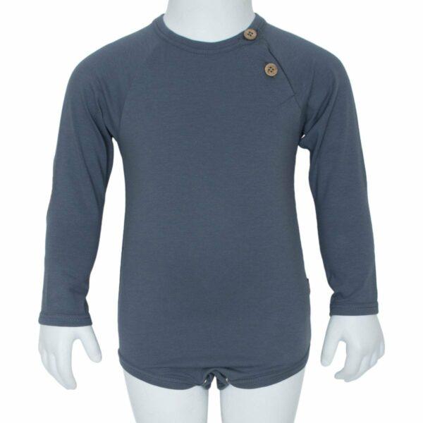 Grey boys body front | Koksgrå body til drenge med albue lapper