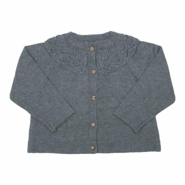 Grey knit | Koksgrå strik cardigan med fin krave fra Little Wonders