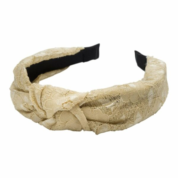 Headband Beige lace | Hårbøjle med blonde i gylden beige fra Little Wonders