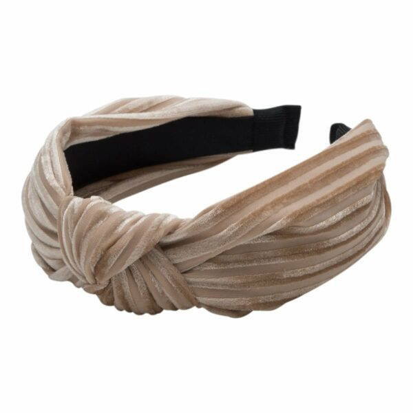 Headband Beige velvet | Hårbøjle med fløjl i beige fra Little Wonders