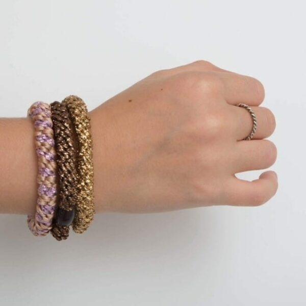 IMG 1178 | Rosa kraftig LW hårelastik med lilla glitter stribe