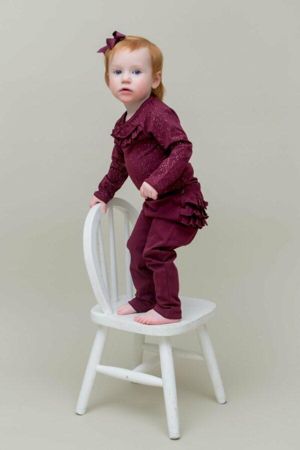 LW Sommer 12 | Bordeaux leggings til baby med flæsenumse